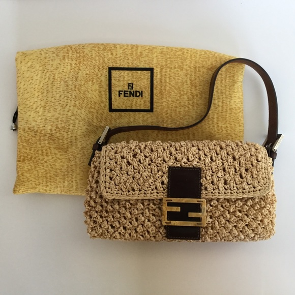 e46a14b4e021 Fendi Handbags - Fendi Straw Basket Weave Baguette Bag